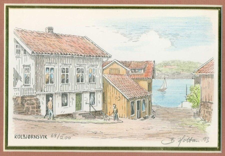 Kolbjørnsvik Akvarell av B. Holtan