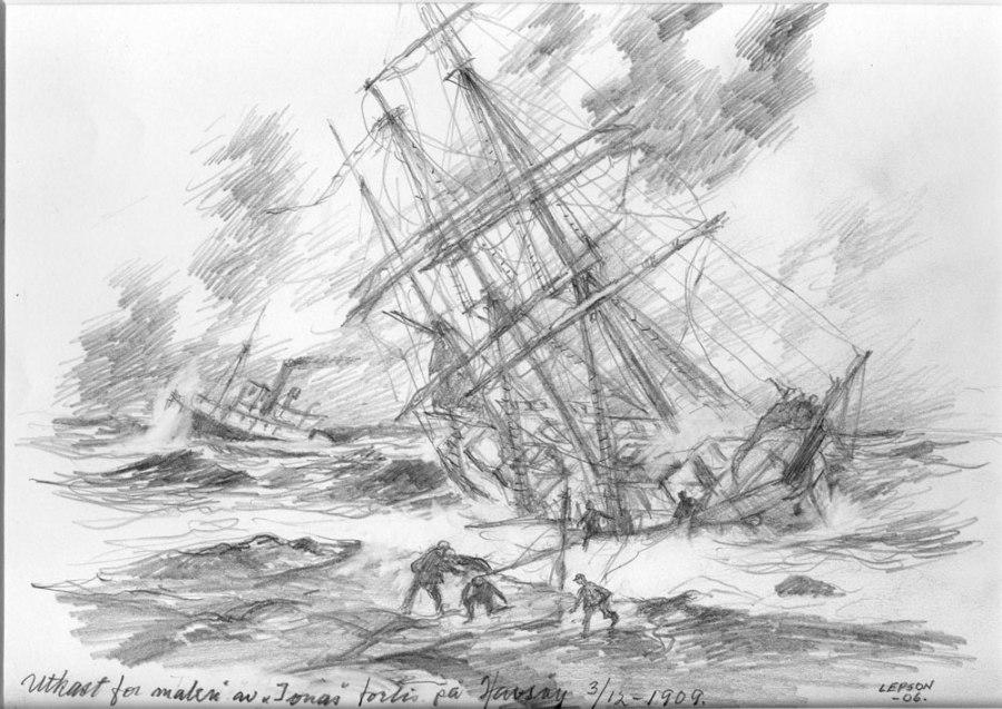 Ionas forlis utenfor Havsøy tegning avAnts Lepson