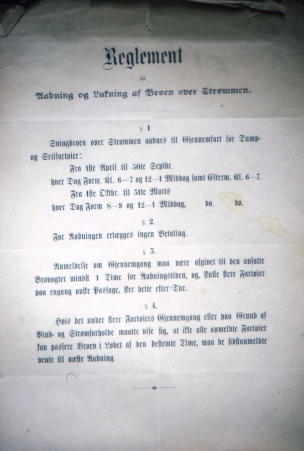 Reglement for åpning av Strømbroa